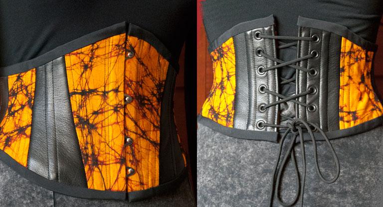 Orange Batik and Black Leather Waspie