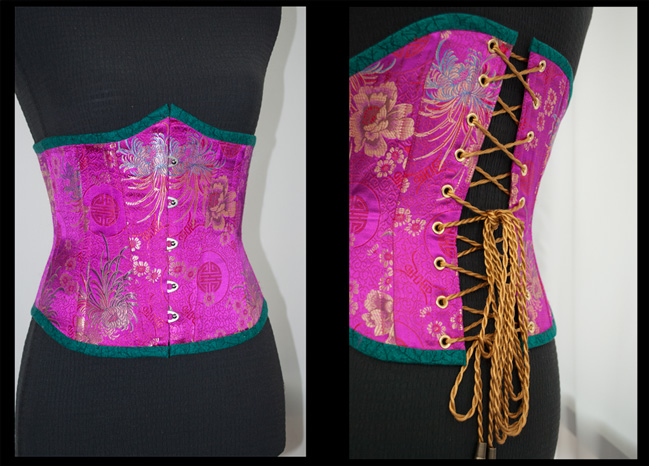 Pink Poly Brocade with Cotton Batik Binding